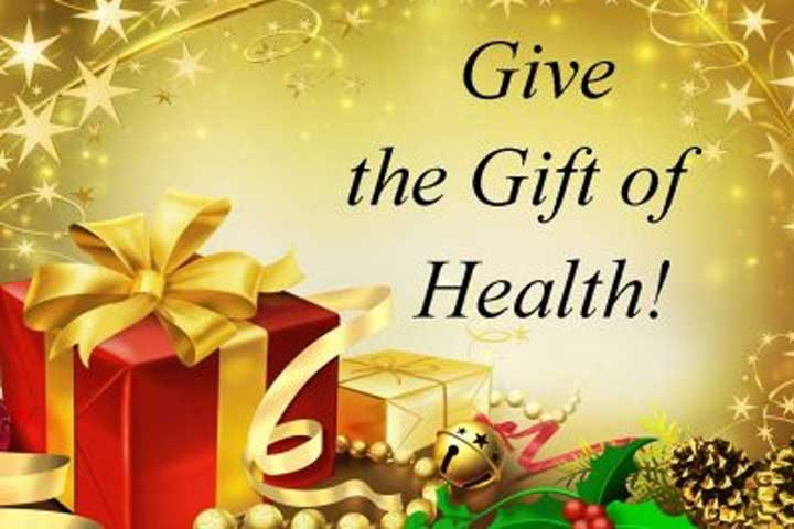 An image with gift boxes with the words 'Give the Gift of Health!'