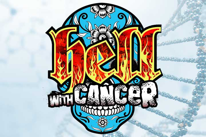 An image with 'Hell with Cancer' written on top of a floral scull (cartoon)
