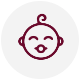 An outline of a baby - icon