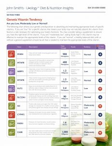 An excerpt from the Genetic Vitamin Profile from the report